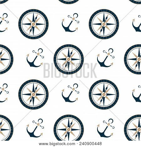 Marine compass and ship anchor seamless pattern stock photo