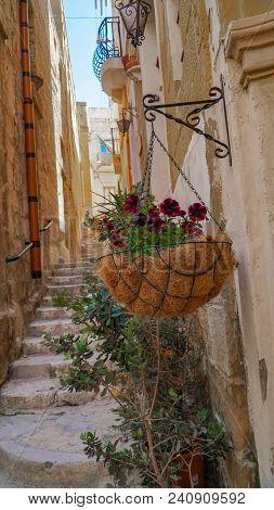 Malta. Narrow medieval streets of old Valletta. Valletta is the capital city of Malta stock photo
