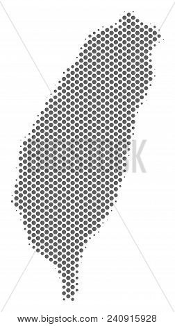 Schematic Taiwan Island map. Vector halftone territory abstraction. Grey dot cartographic composition. Abstract Taiwan Island map is made with regular spheric element array. stock photo