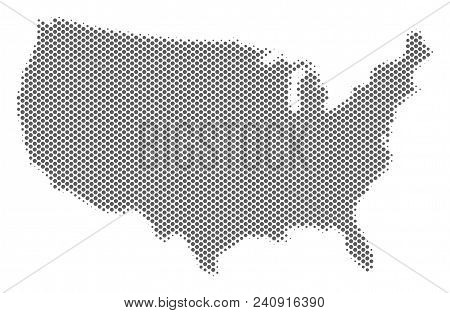 Schematic USA map. Vector halftone geographic abstraction. Grey pixel cartographic concept. Abstract USA map is done of regular spheric item mosaic. stock photo
