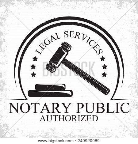 Law firm logo design, emblem of lawyer agency or notary, vintage court logo or typography emblem, Vector stock photo