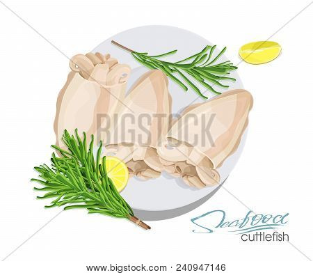 Illustration of a dish of cuttlefish with lemon and rosemary on a plate. Cuttlefish cooked. Icon, logo, symbol. Delicacy. Vector illustration stock photo
