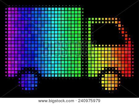 Dot bright halftone shipment van icon in rainbow color variations with horizontal gradient on a black background. Color vector concept of shipment van pictogram created with rectangular dots. stock photo