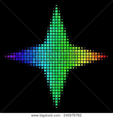 Dot impressive halftone space star icon in spectral color hues with horizontal gradient on a black background. Colorful vector composition of space star symbol constructed from rectangle cells. stock photo