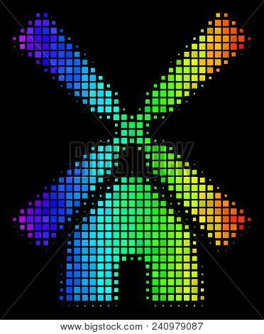 Dotted colorful halftone wind mill icon using rainbow color hues with horizontal gradient on a black background. Colored vector composition of wind mill pictogram formed from square cells. stock photo