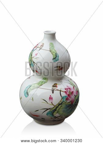 Di cut antique beautiful Gourd shaped ceramic bottle on white background, object, copy space stock photo