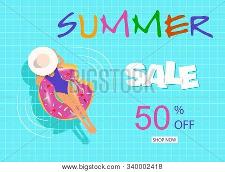 Summer discount banner. Summer, a beautiful young woman with inflatable ring relaxing in blue swimming pool vector illustration. Hello Summer, summer time, summer day, summer day background, summer banners, summer flyer, summer design, summer with people  stock photo