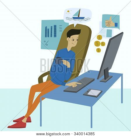 Young man working on the computers at his office desk and earns money to achieve material benefits and recognition. Workplace, businessman. Flat design vector illustration stock photo