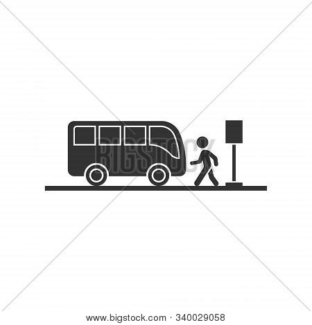 Bus station icon in flat style. Auto stop vector illustration on white isolated background. Autobus vehicle business concept. stock photo