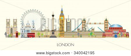 Colorful Vector Panoramic Illustration Of London Landmarks. London City Skyline Vector Isolated Illu