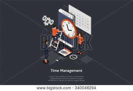 Isometric effective time management concept. Business people are planning and organizing working time, deals deadlines, achieve goals. Vector illustration stock photo