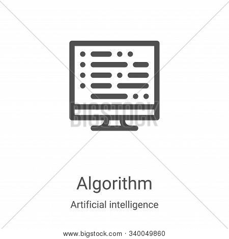 algorithm icon vector from artificial intelligence collection. Thin line algorithm outline icon vector illustration. Linear symbol for use on web and mobile apps, logo, print media stock photo
