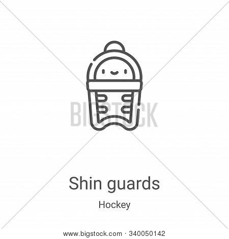 shin guards icon vector from hockey collection. Thin line shin guards outline icon vector illustration. Linear symbol for use on web and mobile apps, logo, print media stock photo
