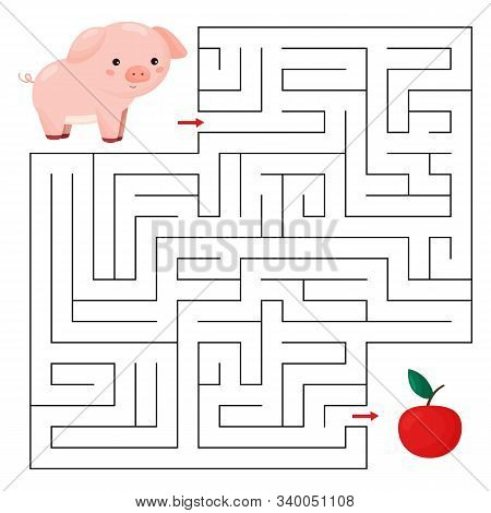 Educational maze game for children. Help the pig find right way to the apple. Cute cartoon character. Farm animals. stock photo