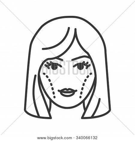 Cheek augmentation black line icon. Cheek lift concept. Cosmetic face surgery. Blond woman concept. Sign for web page, mobile app, banner, social media. Editable stroke. stock photo