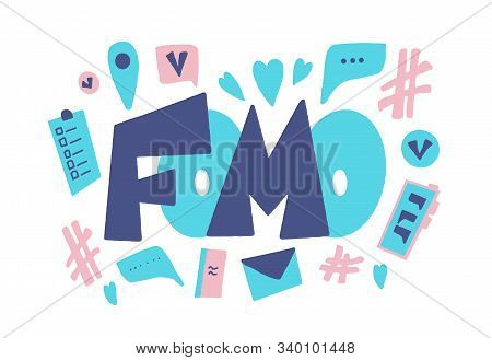 FOMO abbreviation text emblem isolated on white background. Modern social anxiety acronym. Fear of missing out concept. Internet slang lettering. Psychological issues. Vector illustration stock photo