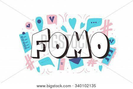 FOMO abbreviation text emblem isolated on white background. Modern social anxiety acronym. Fear of missing out concept. Vector illustration stock photo