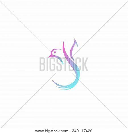 bird logo. flying bird logo. line art Bird logo icon. modern bird logo design concept. nature bird logo illustration. line bird logo isolated on dark blue color, Vector logo template stock photo