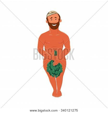 Bearded man standing in a bathhouse and covering with a bunch of birch twig. Vector colorful illustration in cartoon style. stock photo