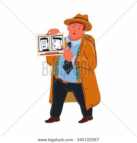 Detective shows a photo with a portrait of a man. Vector colorful illustration in cartoon style. stock photo