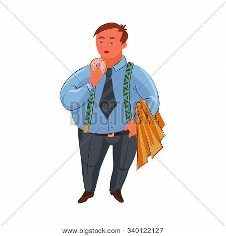 Classic fat detective in blue shirt standing with the donut. Vector colorful illustration in cartoon style. stock photo