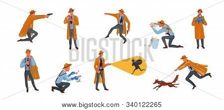 Set of private detective man character in hat search for criminal in different situations. Vector illustration in flat cartoon style. stock photo
