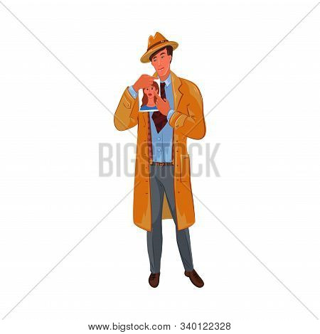 Detective shows a photo with a portrait of a girl. Vector colorful illustration in cartoon style. stock photo