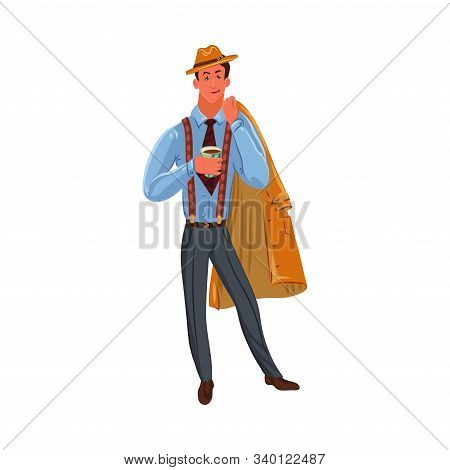 Classic detective in brown hat standing with a cup of coffee. Vector colorful illustration in cartoon style. stock photo