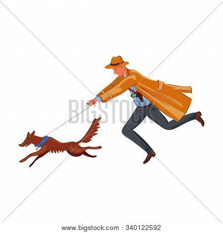A detective running with a tracker dog hunting footprints. Vector colorful illustration in cartoon style. stock photo