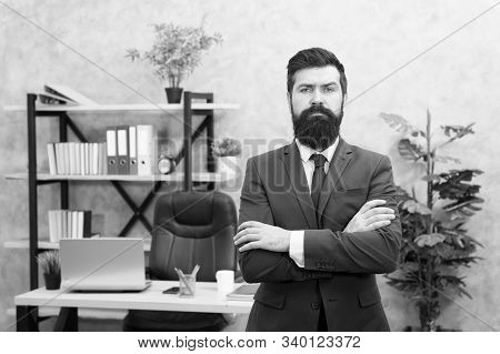 HR manager. Man bearded manager recruiter in office. Recruiter career. Human resources. Hiring concept. Recruitment department. Job interview. Welcome team member. Recruiter professional occupation. stock photo