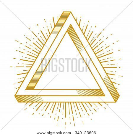 God is a designer concept, pencil with wings and all seeing eye of God in sacred geometry triangle, god is an artist, vector logo or icon in trendy linear style. stock photo