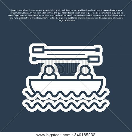 Blue line Boat with oars and people icon isolated on blue background. Water sports, extreme sports, holiday, vacation, team building. Vector Illustration stock photo