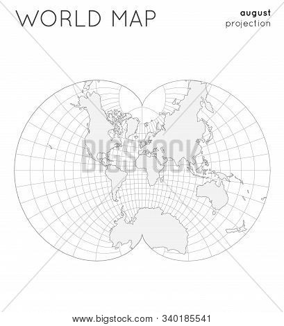 World Map. Globe In August Projection, With Graticule Lines Style. Outline Vector Illustration.