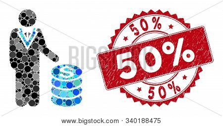 Mosaic businessman and distressed stamp seal with 50 Percent caption. Mosaic vector is formed with businessman icon and with randomized circle elements. 50 Percent stamp seal uses red color, and grunge texture. stock photo