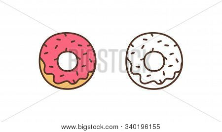 Delicious doughnut linear vector icon. Sweet glazed donut with sprinkles outline illustration. Pastry shop, bakery, confectionery logotype design element. Tasty baking isolated on white background. stock photo