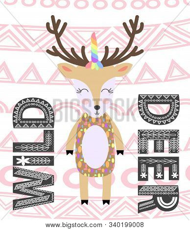 Deer hand drawn illustration. Wild animal with antlers drawing in scandinavian style. Cute cartoon reindeer character poster. stock photo