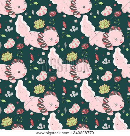 Cute Kawaii axolotl, baby amphibian drawing. Cute animal drawing, funny cartoon illustration. Floral seamless pattern with elements of flora, leaves, twigs, berries, stones stock photo