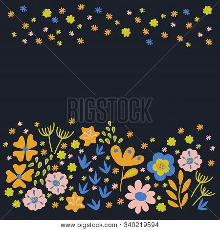 Hand-drawn floral arrangement of flowers and twigs of plants, Scandinavian style . Bright greeting card design template, poster, website stock photo