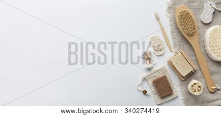 Natural skin care products. Handmade cosmetics and eco accessories on white background, panorama, copy space stock photo