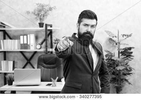 Welcome team member. Recruiter professional occupation. HR manager. Man bearded manager recruiter in office. Recruiter career. Human resources. Hiring concept. Recruitment department. Job interview. stock photo