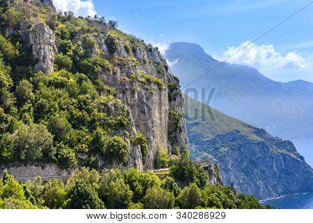 Winding Roads, Sea And Mountains On The Amalfi Coastline, Italy