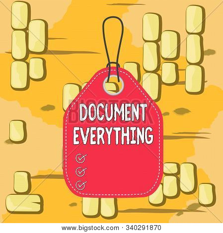 Word writing text Document Everything. Business concept for computer file that contains text that you have written Empty tag blank space colorful background label rectangle attached string. stock photo