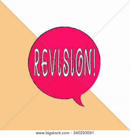 Handwriting text Revision. Concept meaning action of revising over someone like auditing or accounting Rectangle divided into two pieces of right triangle with equal measurement. stock photo