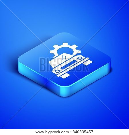 Isometric Car service icon isolated on blue background. Auto mechanic service. Repair service auto mechanic. Maintenance sign. Blue square button. Vector Illustration stock photo