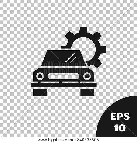Black Car service icon isolated on transparent background. Auto mechanic service. Repair service auto mechanic. Maintenance sign. Vector Illustration stock photo