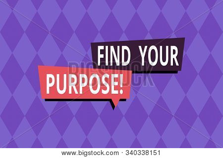 Word writing text Find Your Purpose. Business concept for reason for something is done or for which still exists Repeating geometrical rhombus pattern. Seamless abstract design. Wallpaper. stock photo