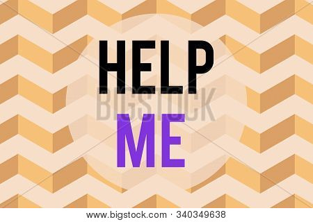 Text sign showing Help Me. Conceptual photo Asking someone to assist you Shouting for it Teamwork Volunteer Seamless wavy lines pattern. Abstract texture zigzag waving. Geometric. stock photo