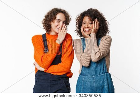Portrait of happy multinational women in overalls smiling and looking at camera isolated over white background stock photo