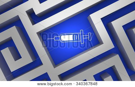 Syringe Needle Medicine Shot Injection Medication Vaccine Maze Lost Found Navigate 3d Illustration stock photo