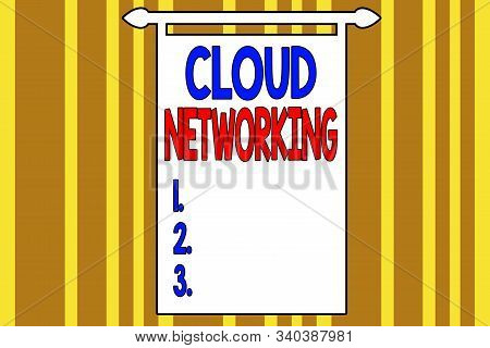Handwriting text writing Cloud Networking. Concept meaning sourcing and utilization of one or more network resources Abstract background multicolored intersecting striped pattern chromatic. stock photo